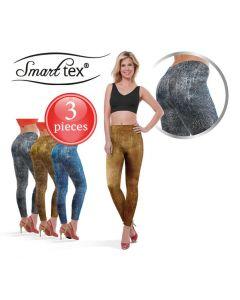 SmartTex Leggings Leather Print 3 pcs - Size XL