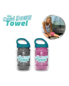 Cool Down Towel - Grey + Pink