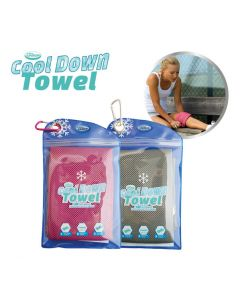 Cool Down Towel - incl. tas - Grey + Pink
