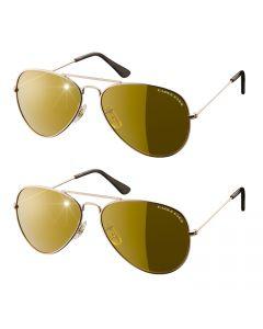 Eagle Eyes - Aviator Sunglasses set of 2 - Goud