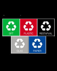 Plafor - Prullenbak Sticker Set van 5 stuks