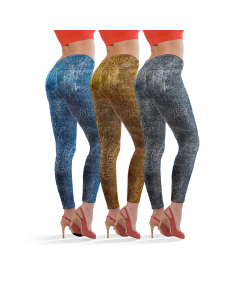 SmartTex Leggings Leather Print 3 pcs - Size L